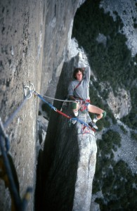 22 The Nose, Darrow belaying on Texas flake