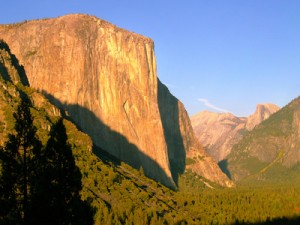 Yosemite's El Capitan glowing golden in evening sunlight